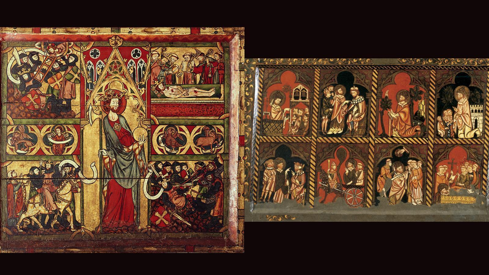 Frontal de Sant Olaf (a l'esquerra) i  un frontal narratiu de Sant Cebrià