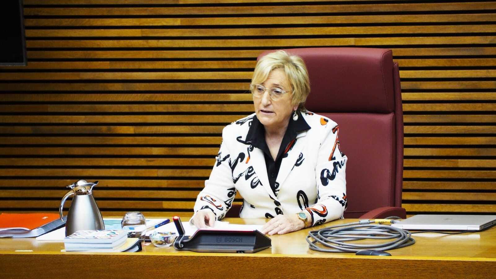 La consellera de Sanitat Universal i Salut Pública, Ana Barceló, durant una compareixença a les Corts Valencianes, en una imatge d'arxiu