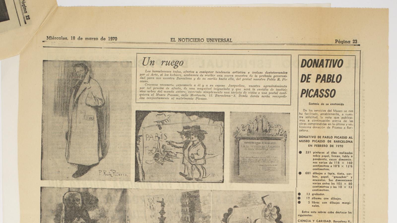 'El Noticiero Universal' va destacar 14 obres de la donació de Picasso de 1970