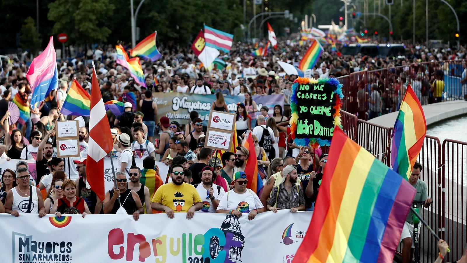 La manifestació LGTBI, aquest dissabte a Madrid.