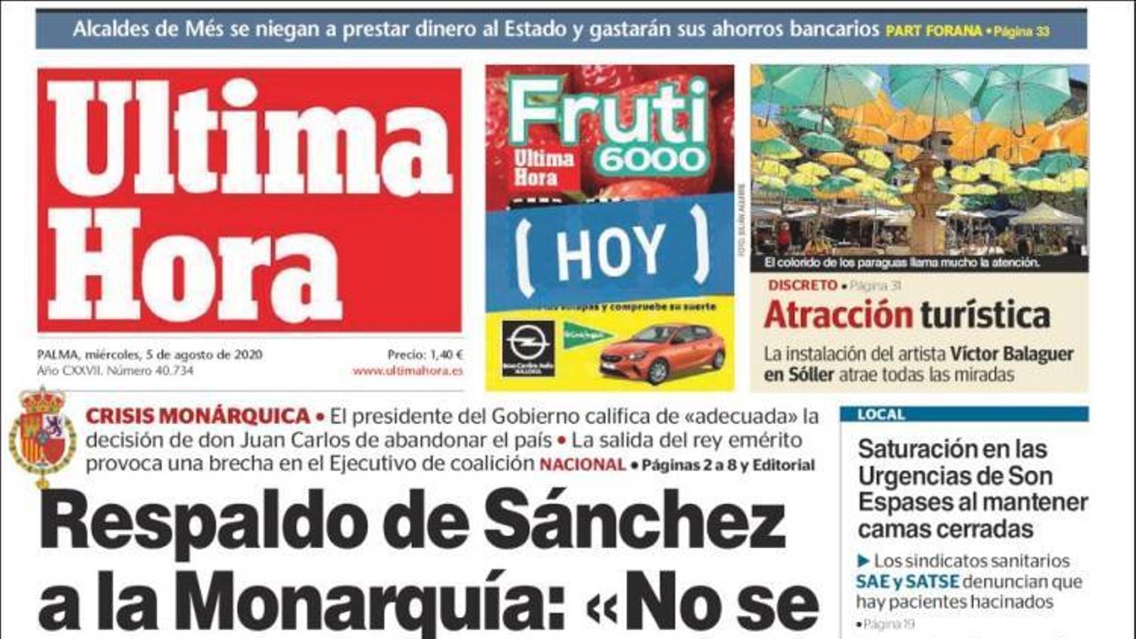 """""""Suport de Sánchez a la Monarquia:'No es jutja la institució"""", portada de l''Última Hora'"""