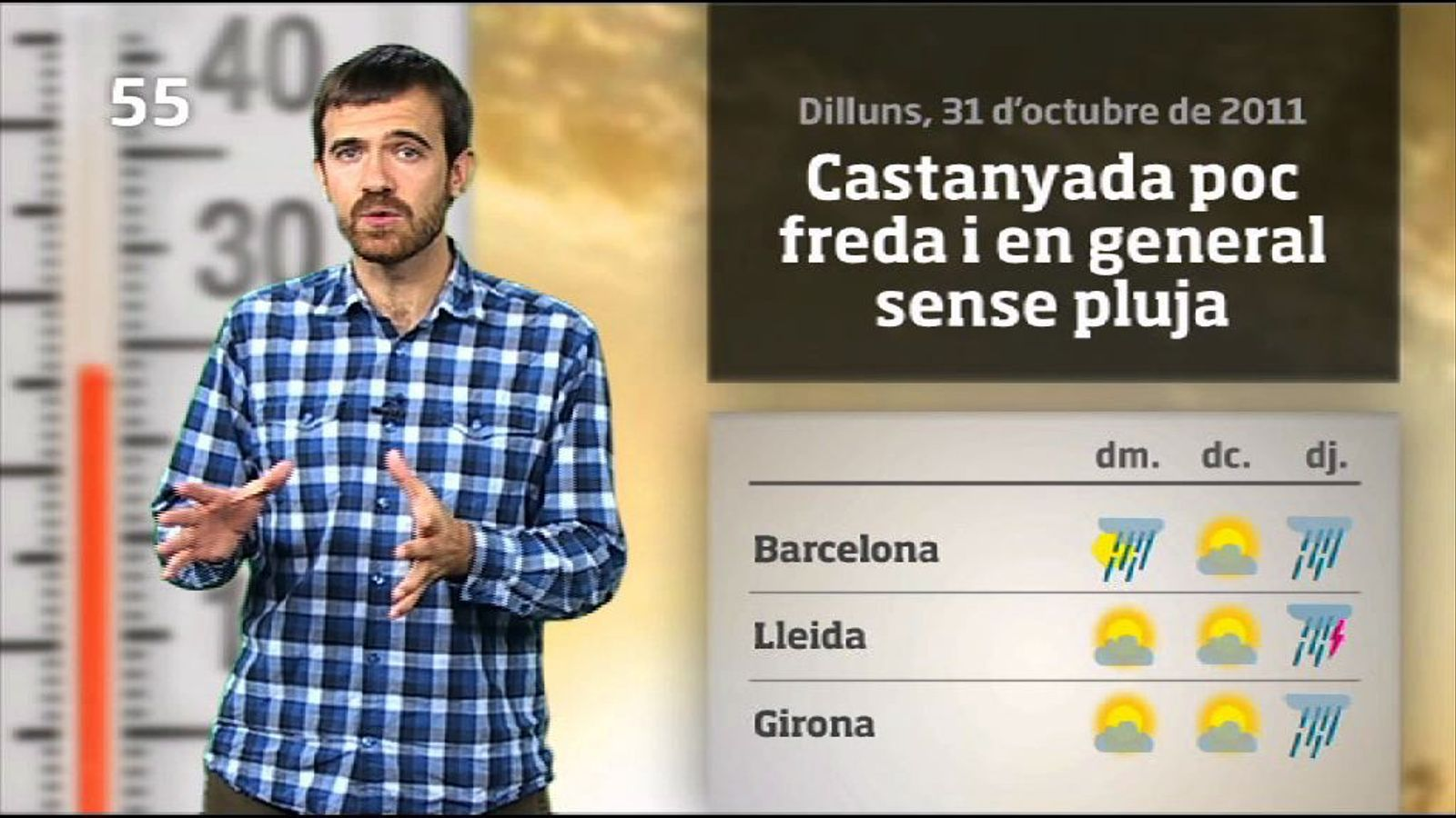 La méteo en 1 minut: castanyada poc freda i pluges a la vista (01/11/2011)