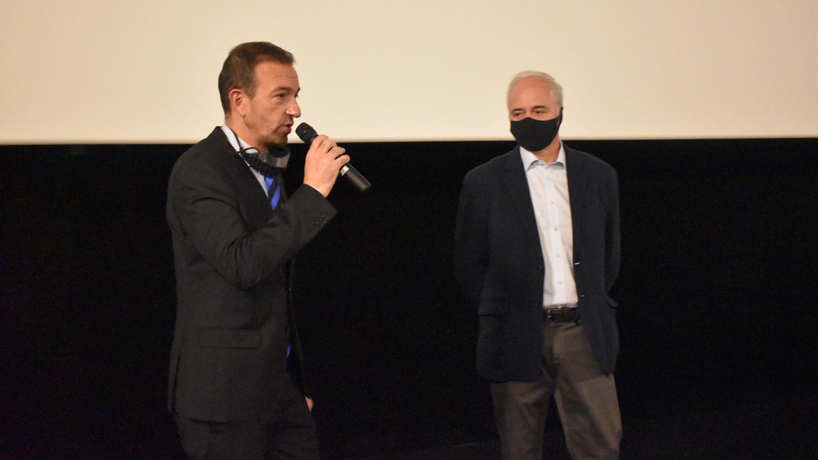 El ministre d'Ordenament Territorial, Jordi Torres, amb el president de l'ACA, Enric Pujal, durant la presentació de la campanya / AS