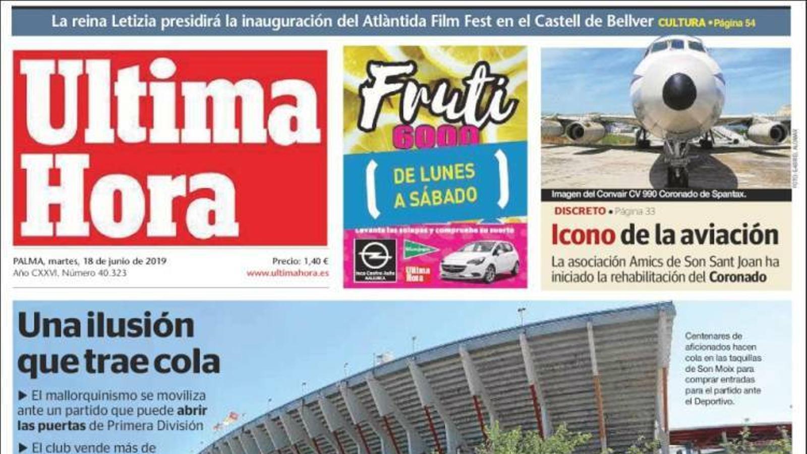"""""""La nova llei hipotecària rebaixa més de mil euros la concessió de crèdits"""", portada d''Última Hora'"""