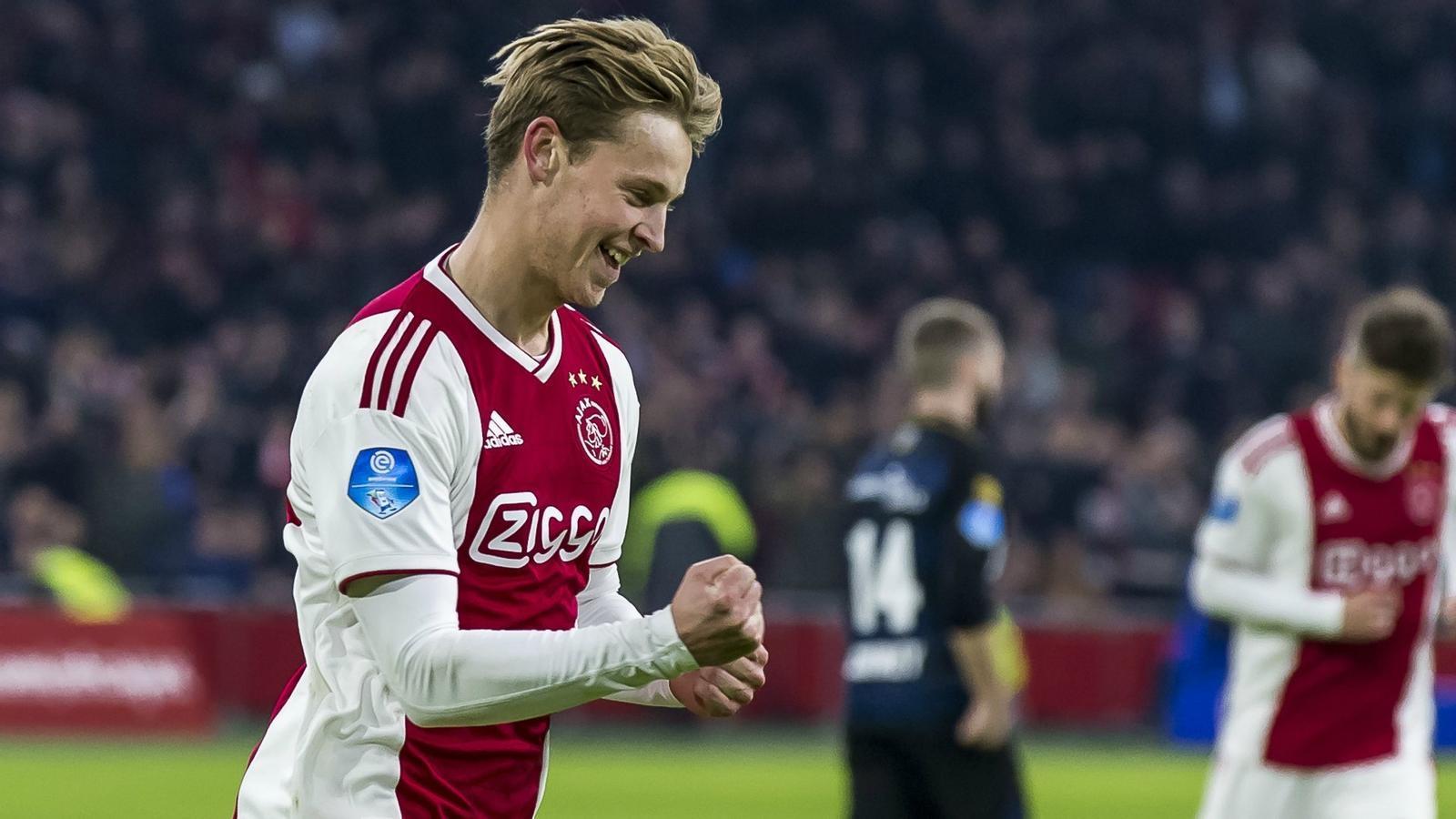 De Jong celebra un gol amb l'Ajax