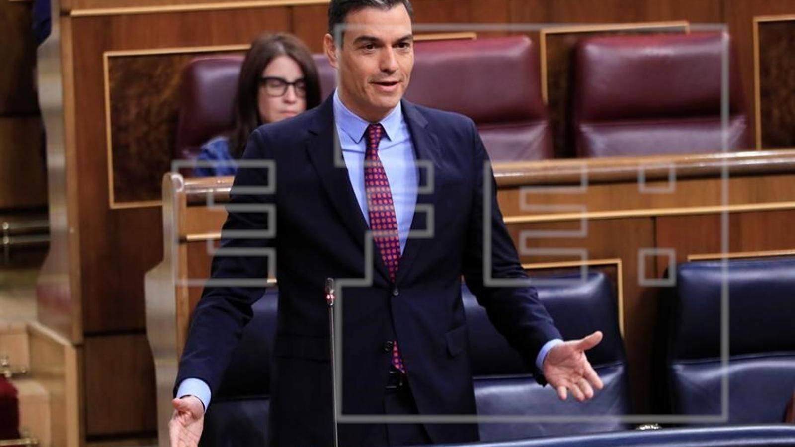 Pedro Sánchez durant la sessió de control