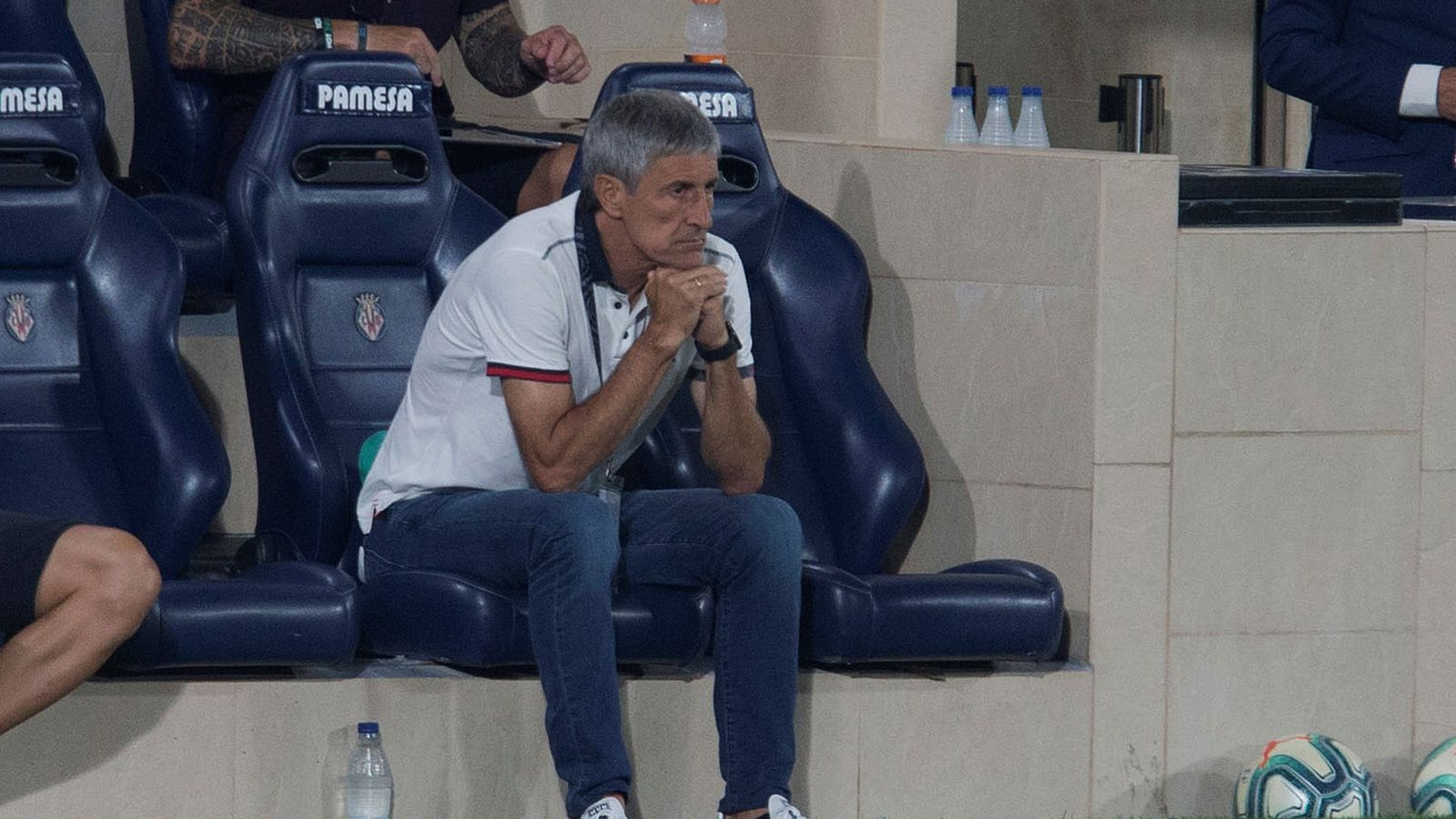 Quique Setién en el partit contra el Vila-real (1-4)
