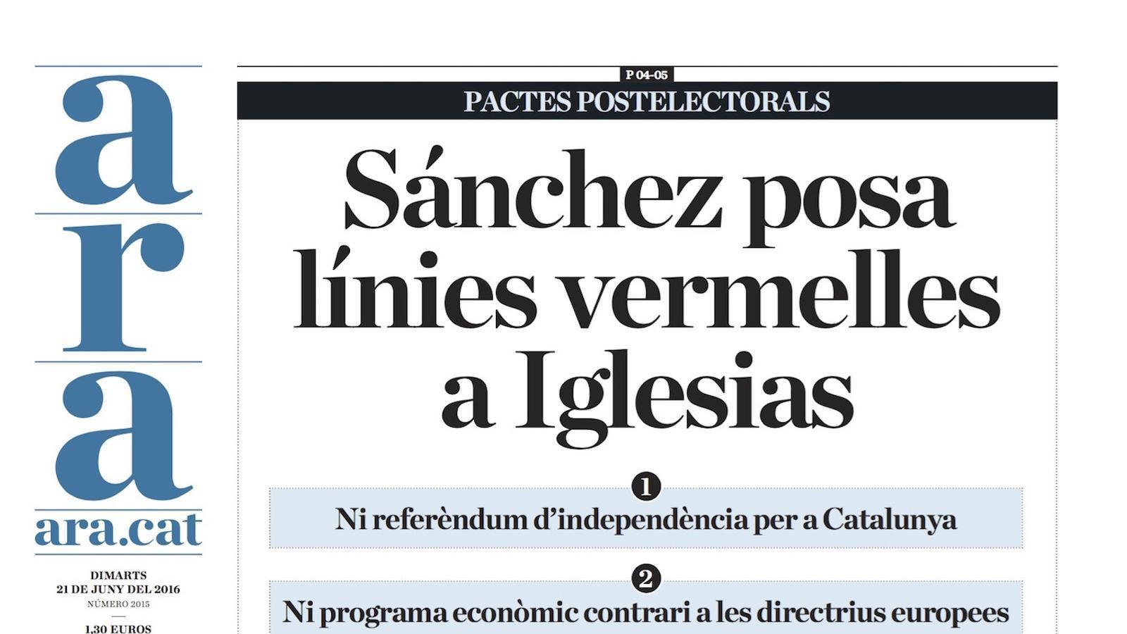 """""""Sánchez posa línies vermelles a Iglesias"""", portada de l'ARA"""