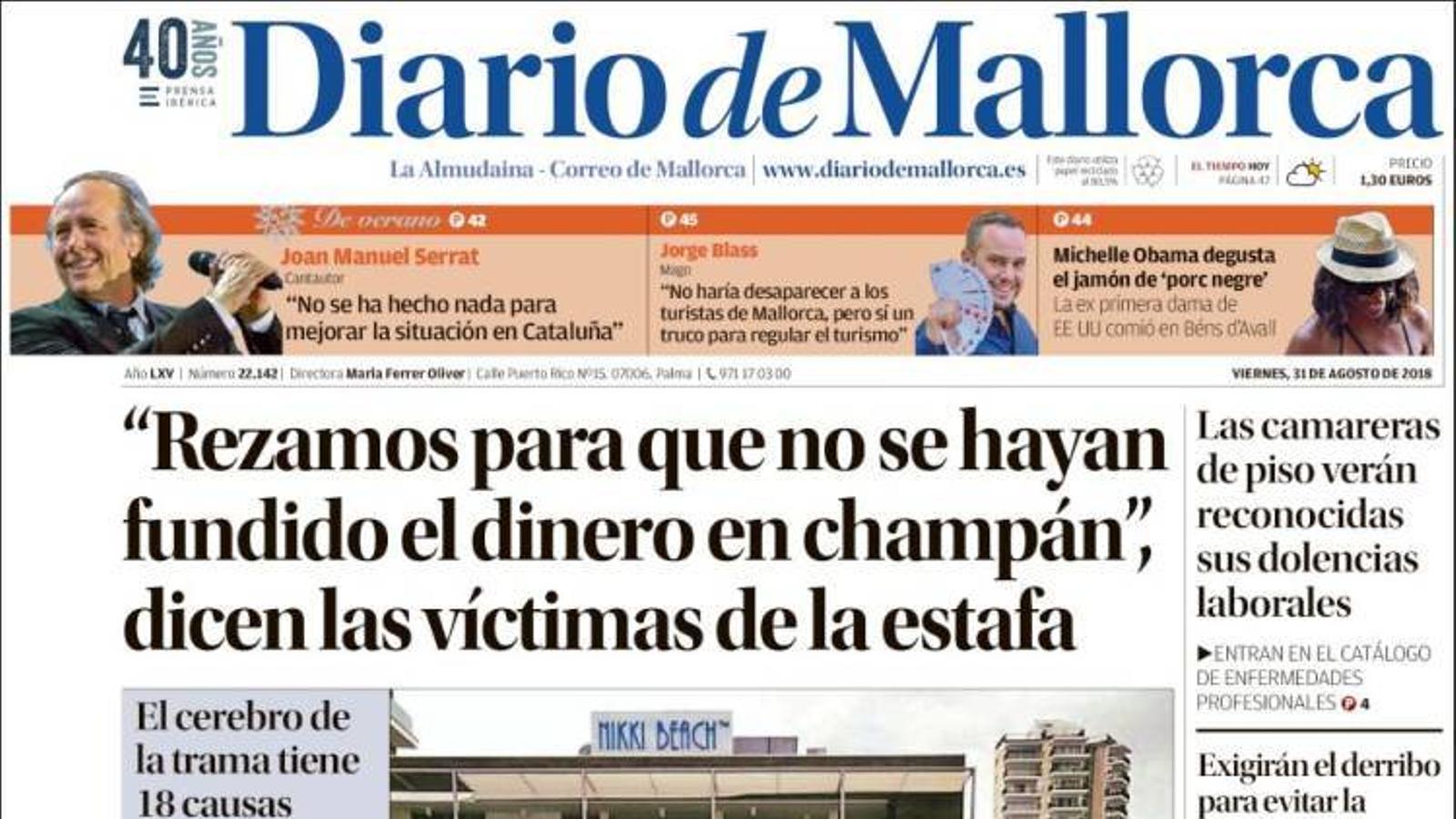 """""""""""Resem perquè no s'hagin fos els diners en xampany"""", diuen les víctimes de l'estafa"""", portada de 'Diario de Mallorca'"""