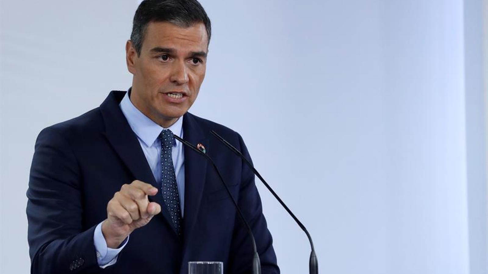 El president del govern espanyol, Pedro Sánchez, durant la roda de premsa posterior al Consell de Ministres, d'aquest dimarts.