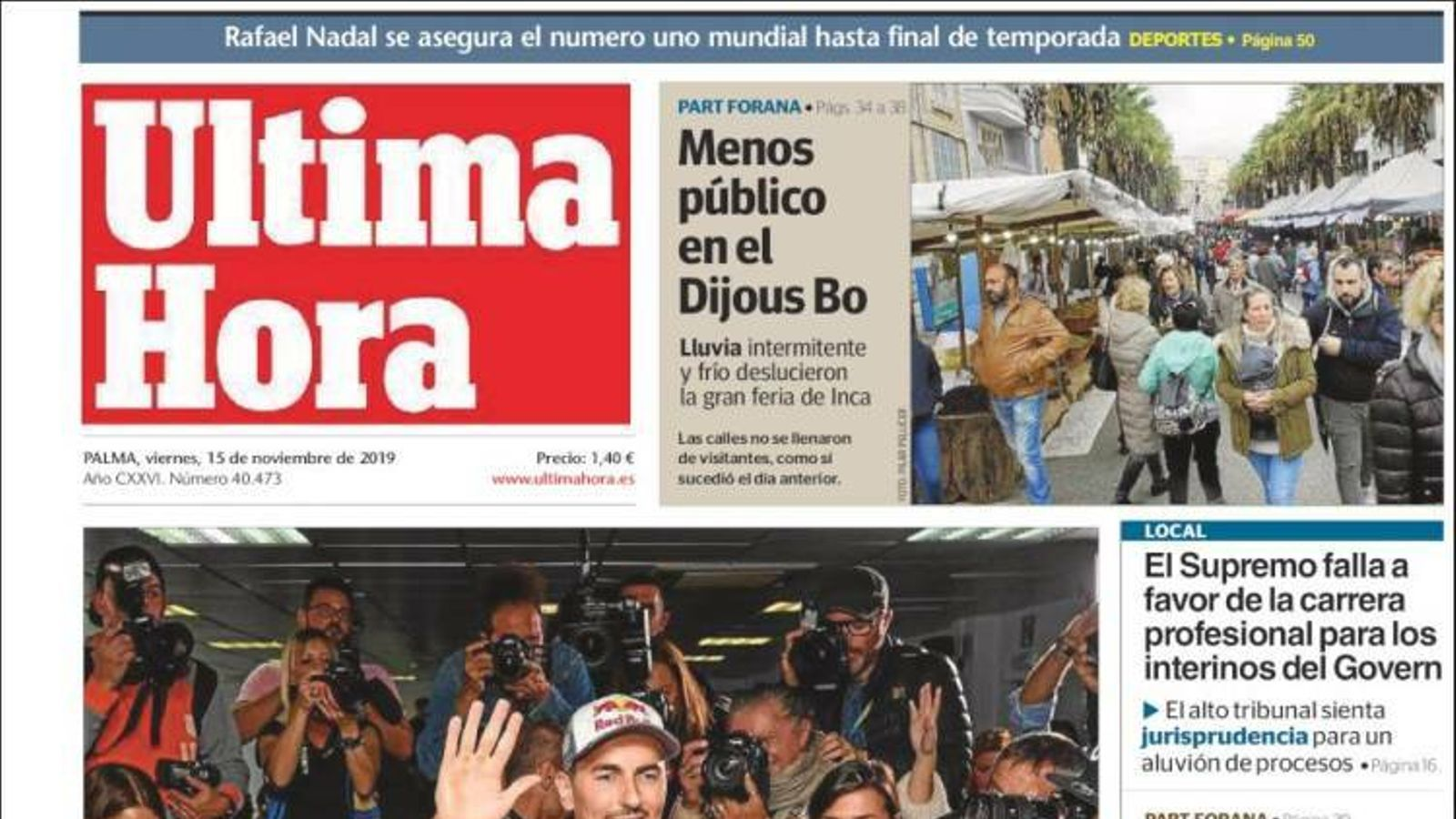 """""""La investidura es negociarà amb Junqueras a la presó"""", portada de 'La Razón'"""