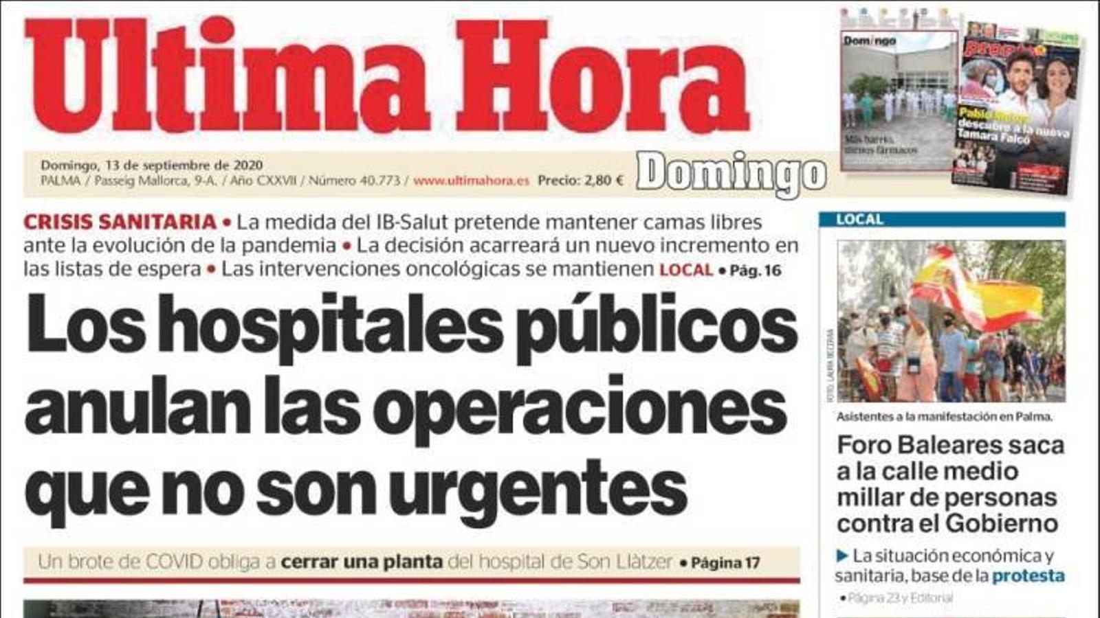 """""""Els hospitals públics anul·len les operacions que no són urgents"""", portada de l''Última Hora'"""