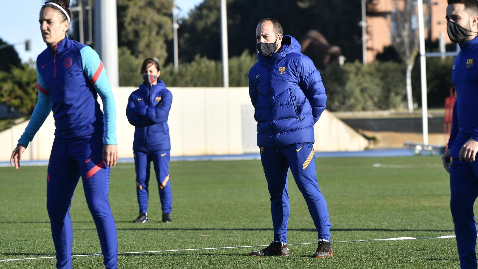 Lluís Cortés en l'entrenament previ a la semifinal de la Supercopa