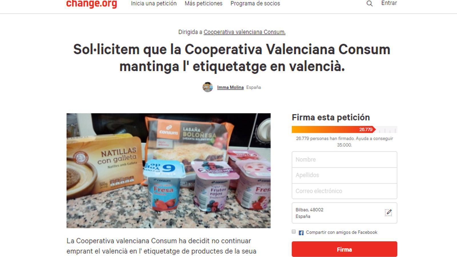 La campanya perquè Consum mantingui l'etiquetatge en valencià s'acosta a les 30.000 signatures