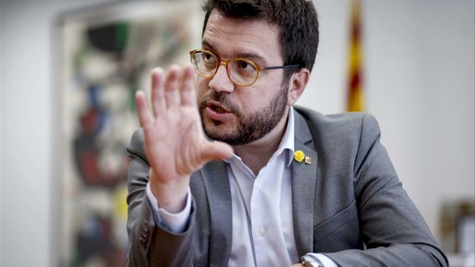 El vicepresident del Govern, Pere Aragonès, en una entrevista amb l'agència Efe