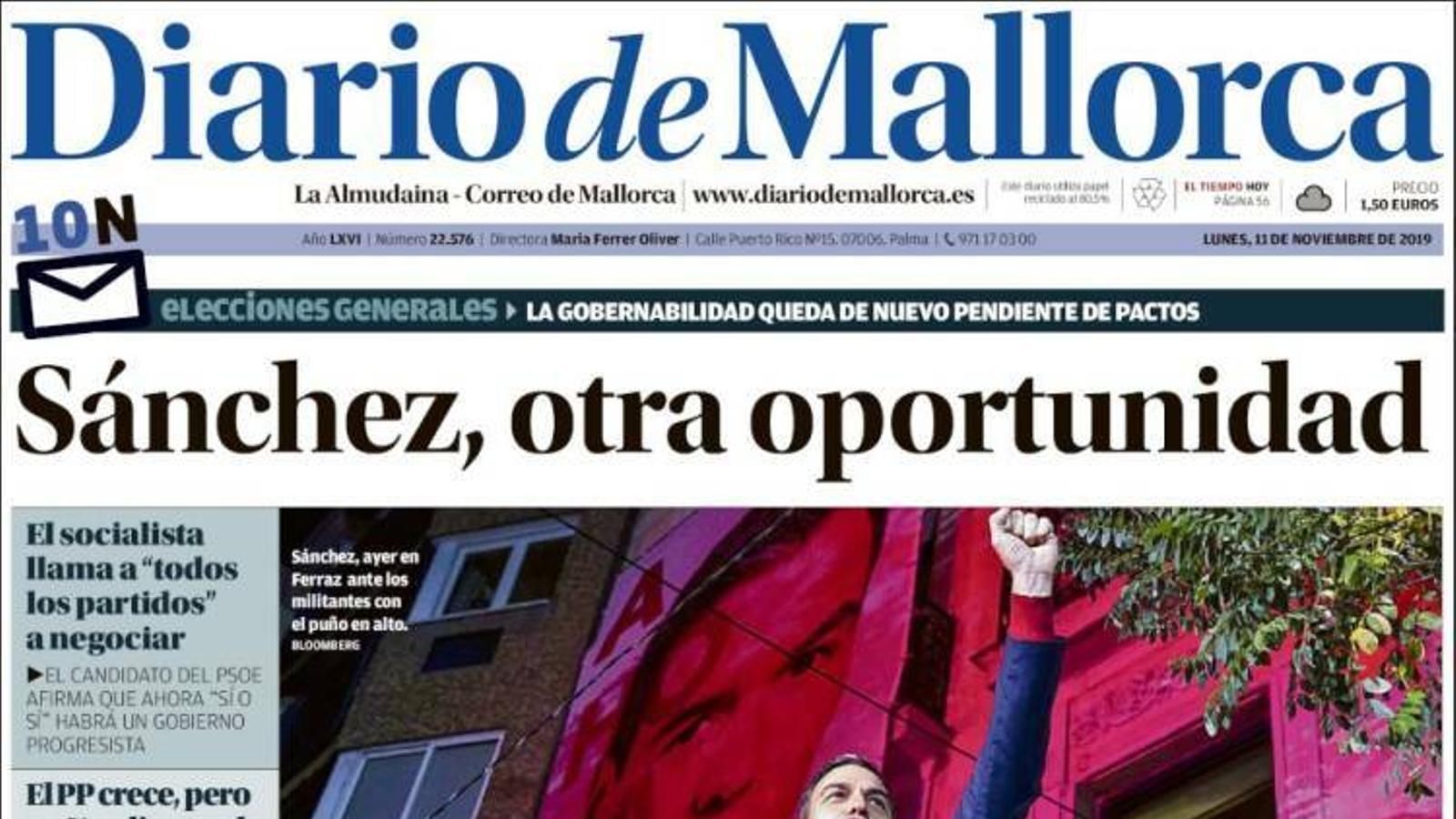 """""""Sánchez fracassa en el seu plebiscit i dificulta encara més la governabilitat"""", portada de 'Diario de Mallorca'"""