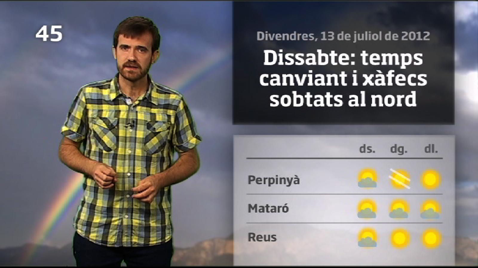 La méteo en 1 minut: dissabte amb xàfecs sobtats i refrescada (14/07/2012)
