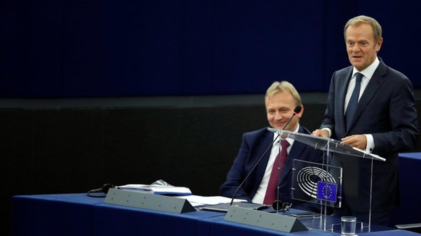Donald Tusk intervé al Parlament Europeu d'Estrasburg.