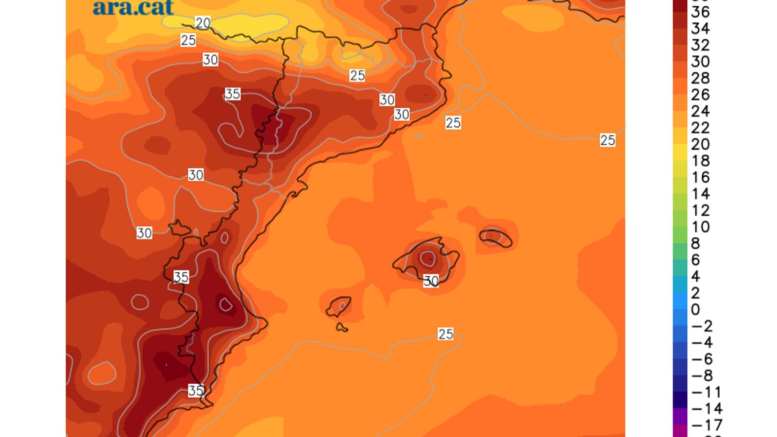 Temperatura màxima prevista per aquest dimecres.