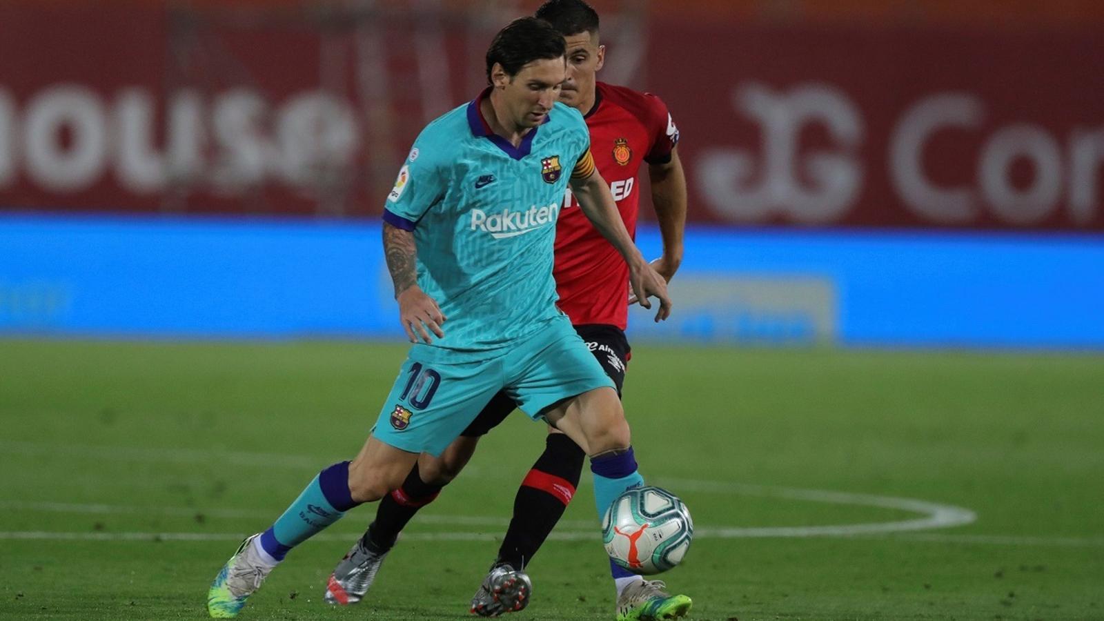 Leo Messi, en acció contra el Mallorca