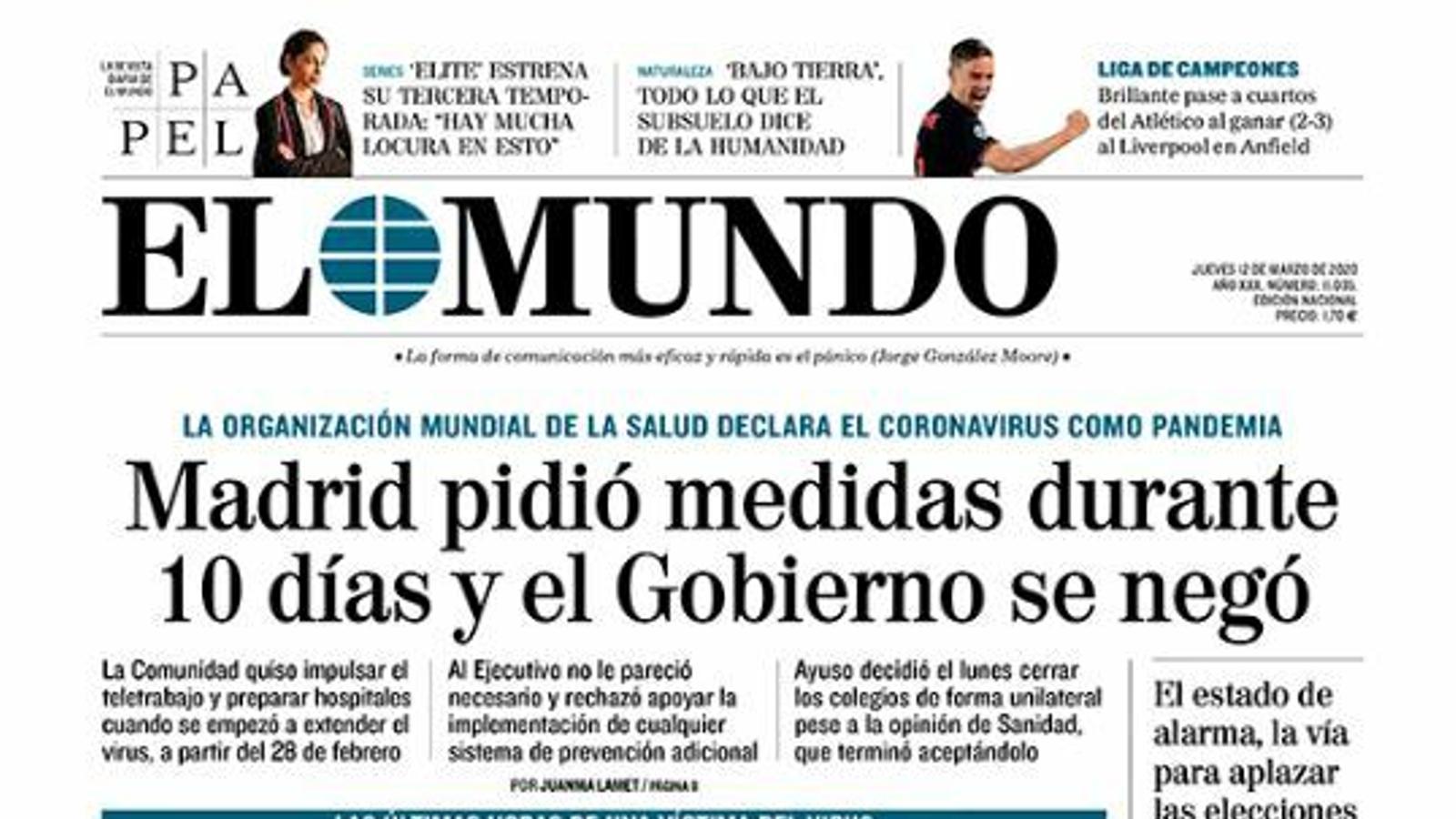 Portada d'El Mundo, 12 de març del 2020