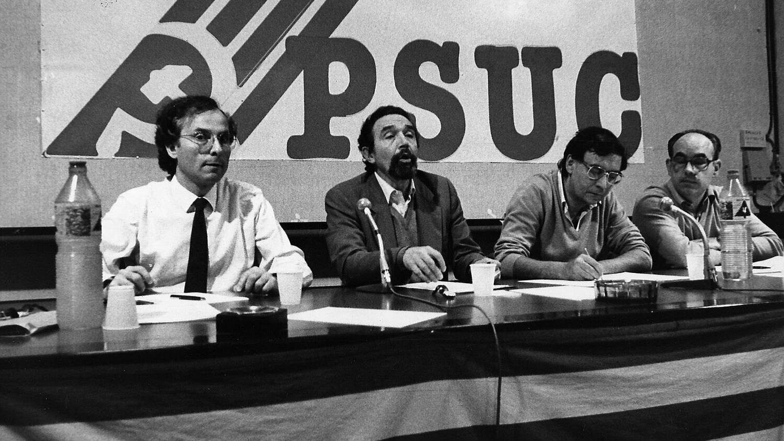 D'esquerra a dreta, Rafael Ribó, Antoni Gutiérrez, Jordi Conill i Ramon Espasa als anys 70.