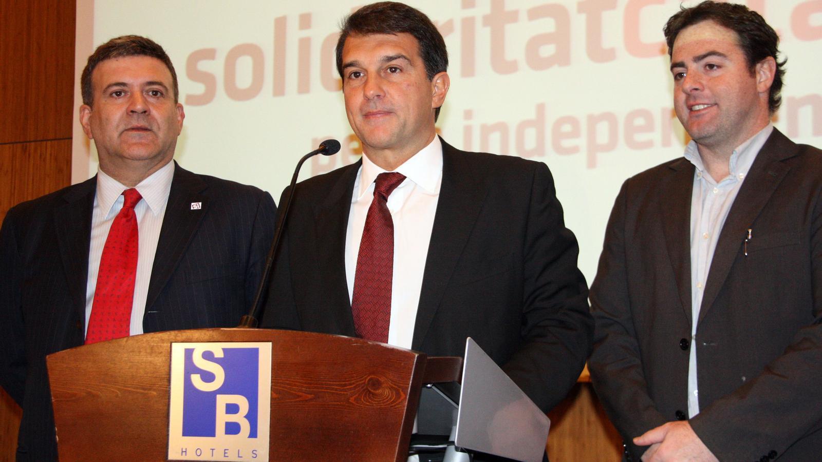 Els dirigents de Solidaritat Catalana per la Independència Joan Laporta, Alfons López Tena i Uriel Betran.