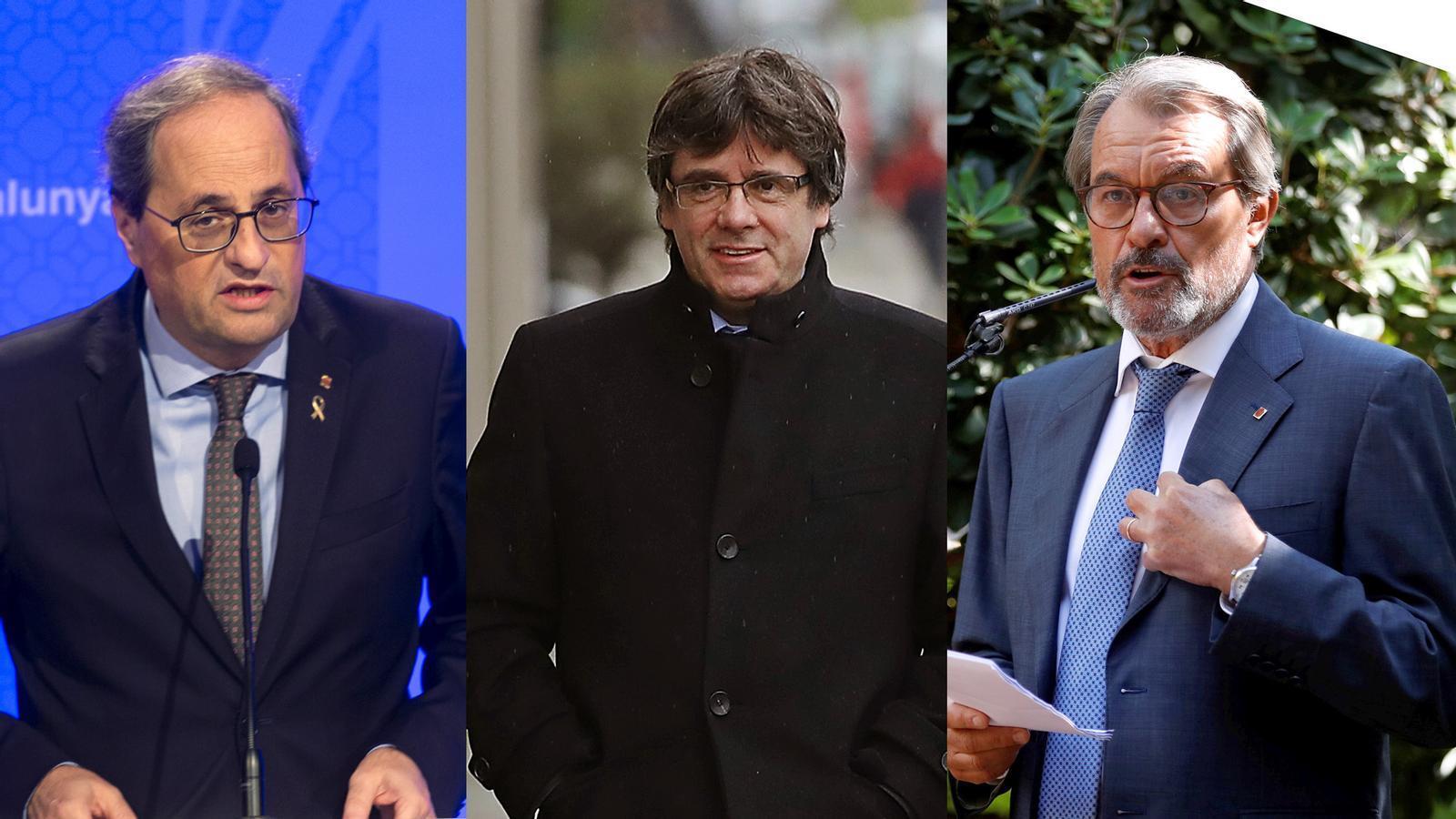 Roda de premsa de Puigdemont, Torra i Mas a Perpinyà