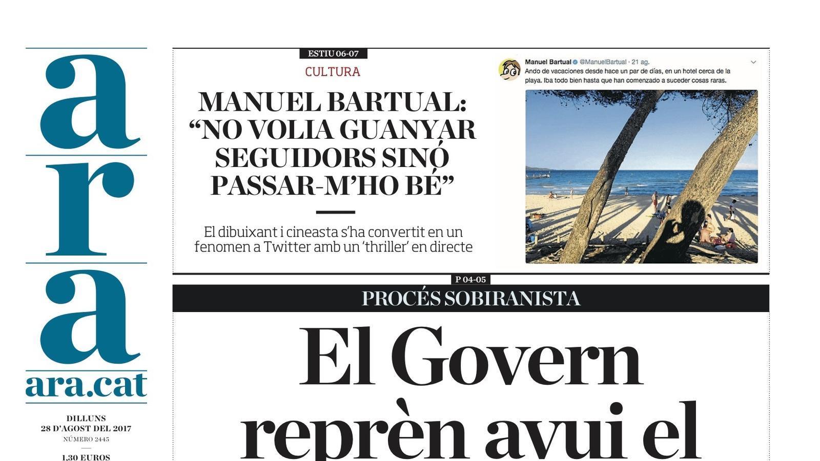 """""""El Govern reprèn avui el camí cap a l'1-O"""", portada de l'ARA"""