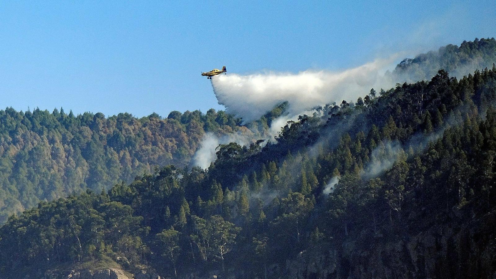 Una dotació aèria llançava ahir aigua sobre el foc que crema el Parc Natural de Tamabada.