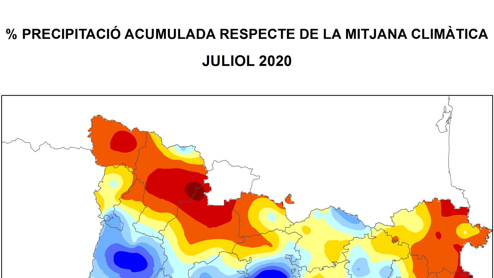Pluja acumulada aquest juliol (%) respecte la mitjana climàtica / Font: SMC