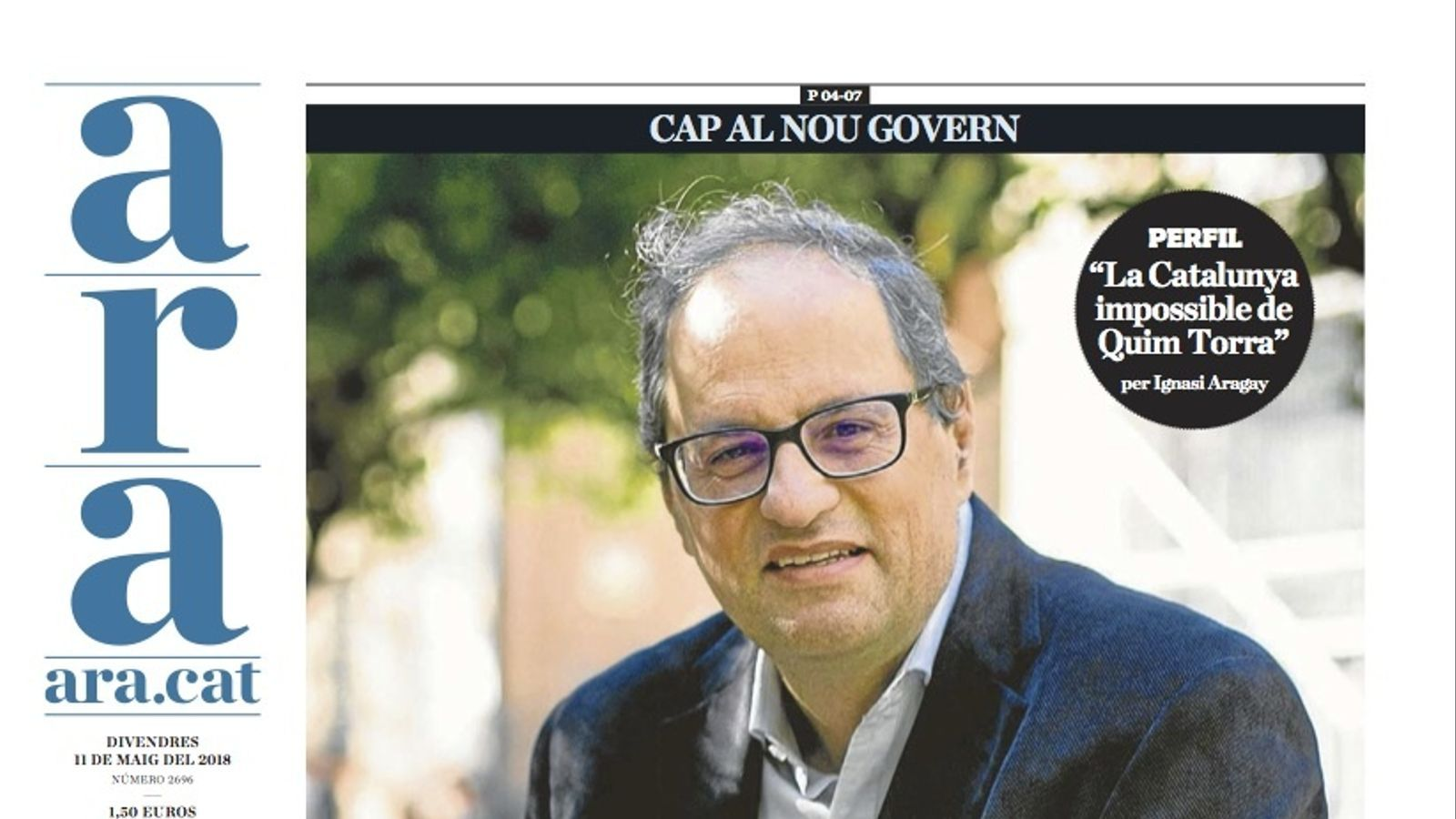 """Puigdemont designa Quim Torra"", portada de l'ARA"