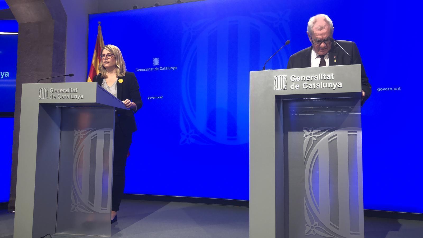 Elsa Artadi i Ernest Maragall en la roda de premsa posterior a la reunió de Govern d'aquest dimarts