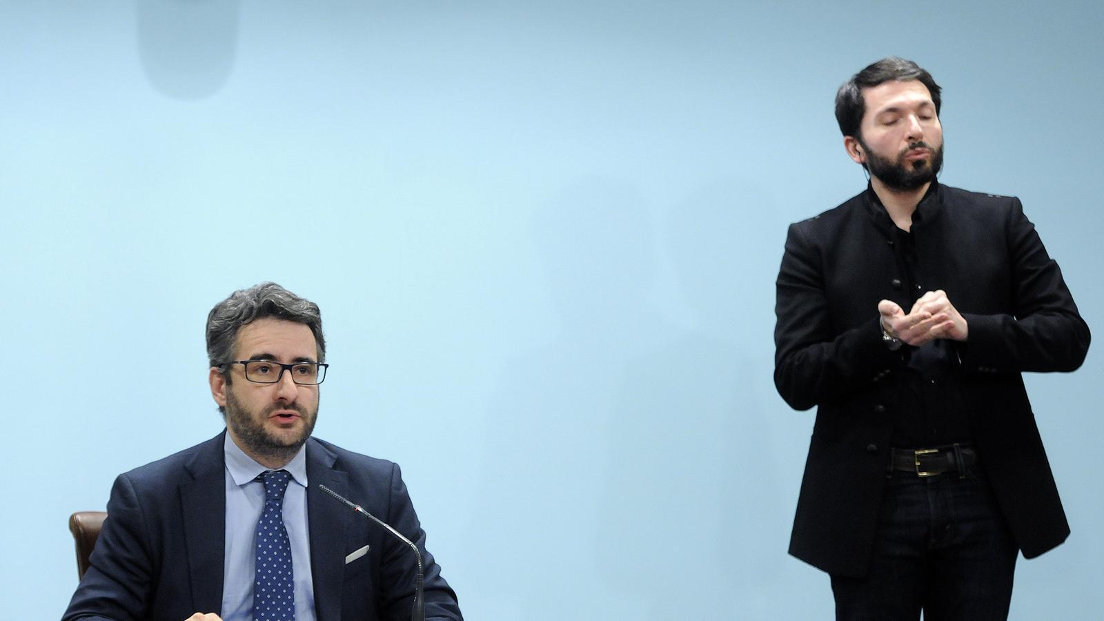 El ministre Portaveu, Eric Jover, en roda de premsa. / SFG