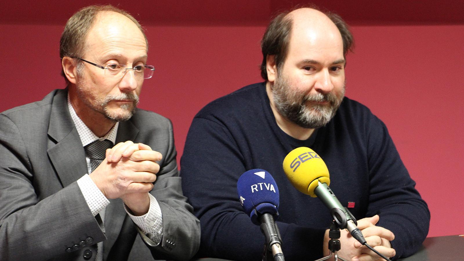 Víctor Naudi i Joan Marc Miralles en la roda de premsa d'aquest dimarts. / B. N.