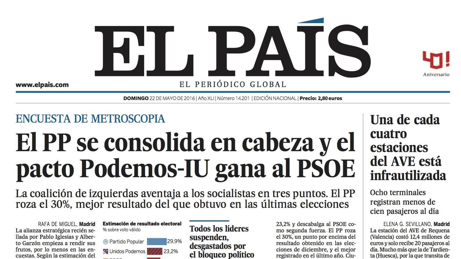Portada 'El País'