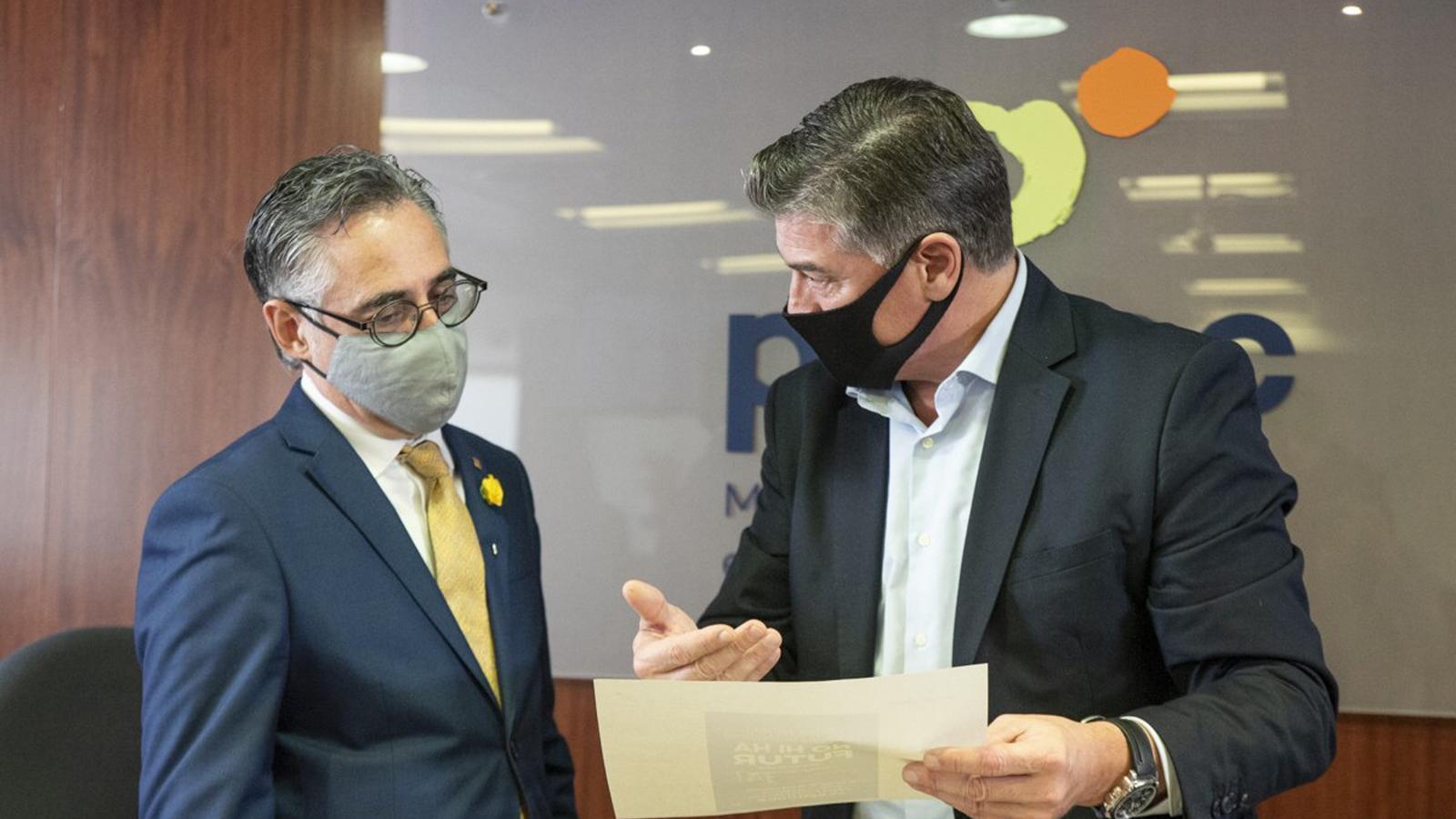 El conseller d'Empresa, Ramon Tremosa, i el secretari general de Pimec, Antoni Cañete, aquest dimecres.