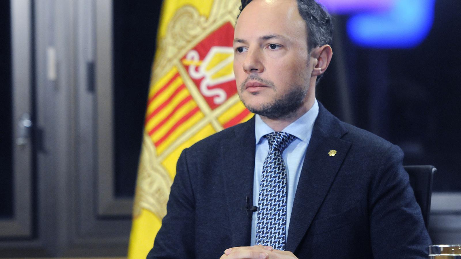 El cap de Govern, Xavier Espot, en una de les compareixences que ha ofert aquests dies. / SFG