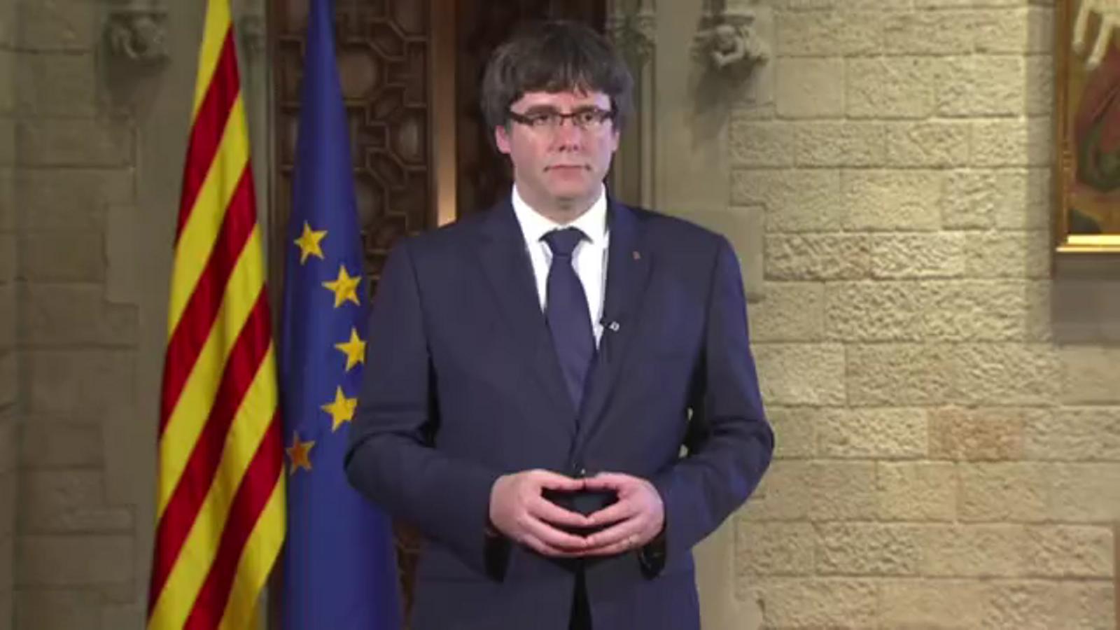 La resposta de Carles Puigdemont a la destitució del Govern i a les mesures del 155.