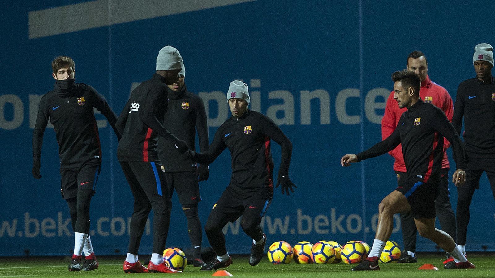 Imatge de l'última sessió del Barça abans del partit a Vila-real.