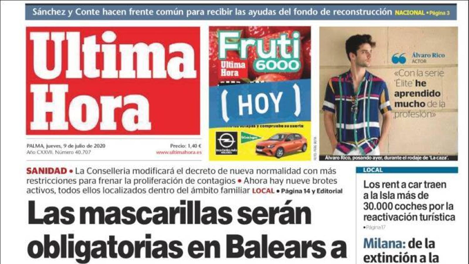 """""""Les mascaretes seran obligatòries a les Balears a partir del cap de setmana"""", portada d''Última Hora'"""