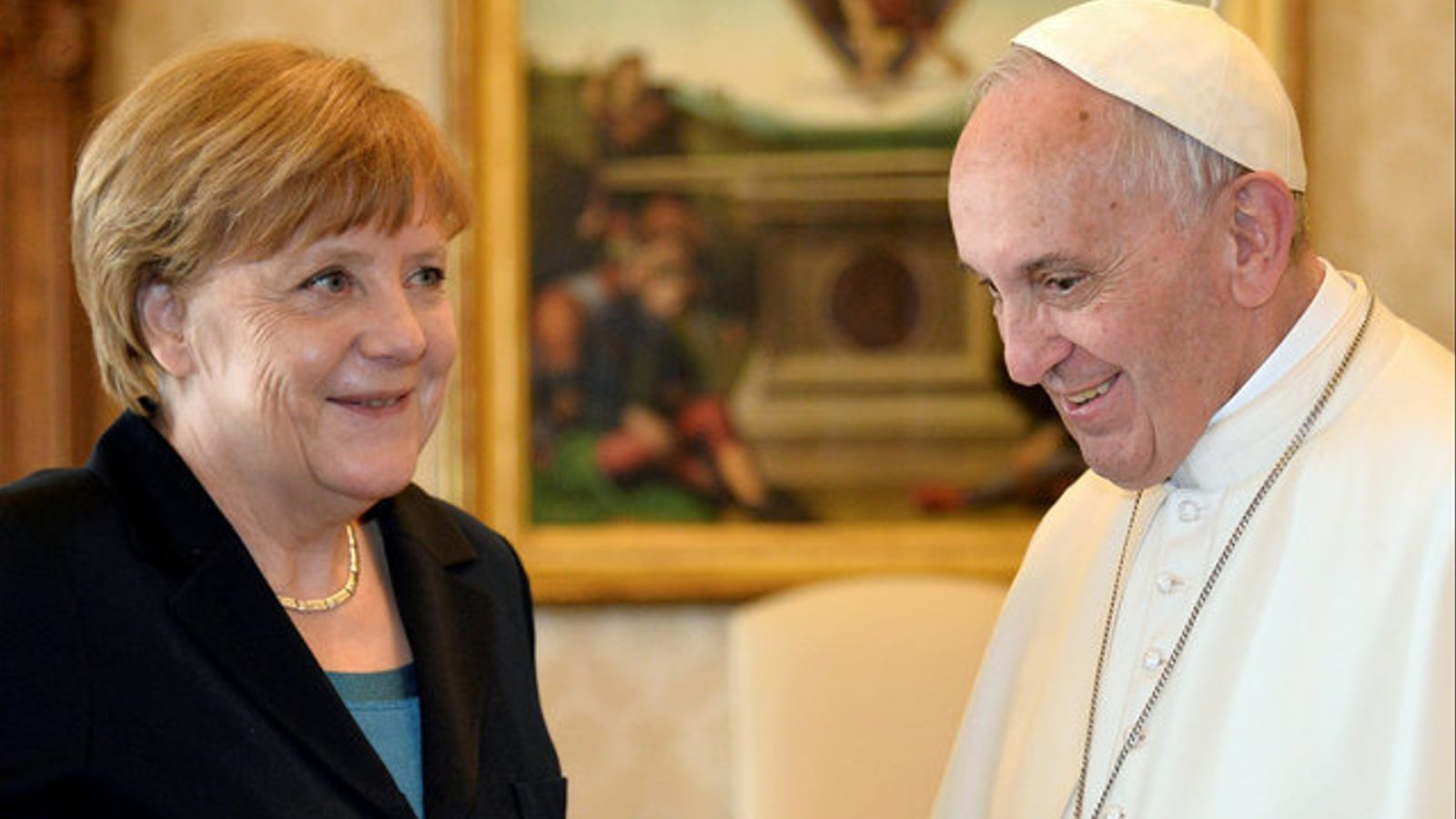 El papa Francesc i la cancellera alemanya, Angela Merkel, es reuneixen al Vaticà.