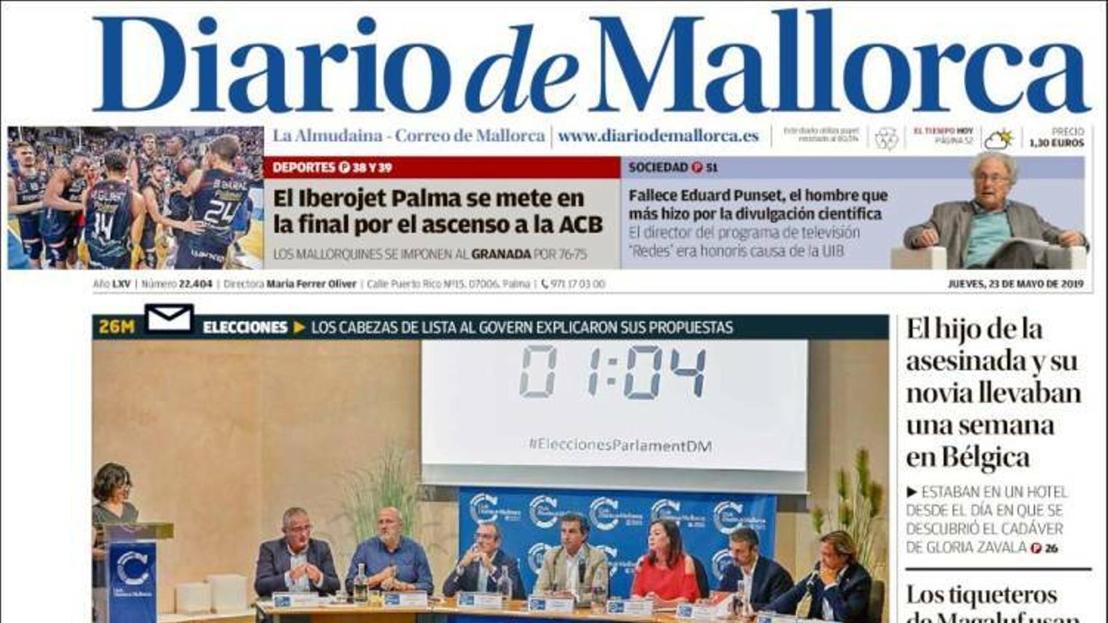 """""""L'esquerra reforça la seva unió davant el 26M enfront d'una dreta ambigua amb els futurs pactes'"""", portada de 'Diario de Mallorca'"""