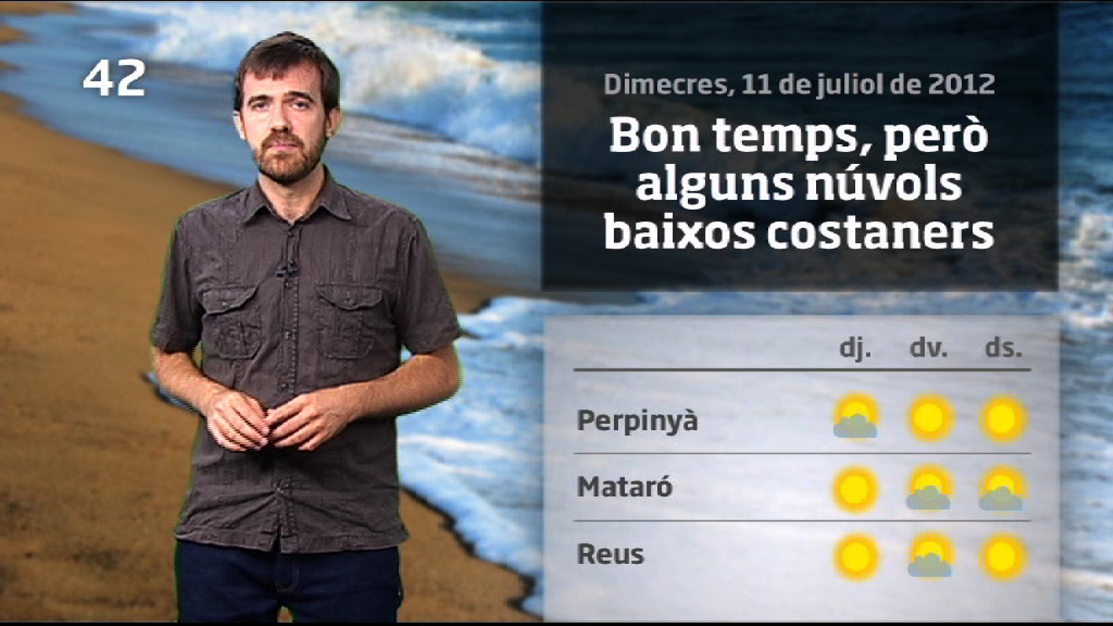 La méteo en 1 minut: bon temps, però intervals de núvols a la costa (12/07/2012)