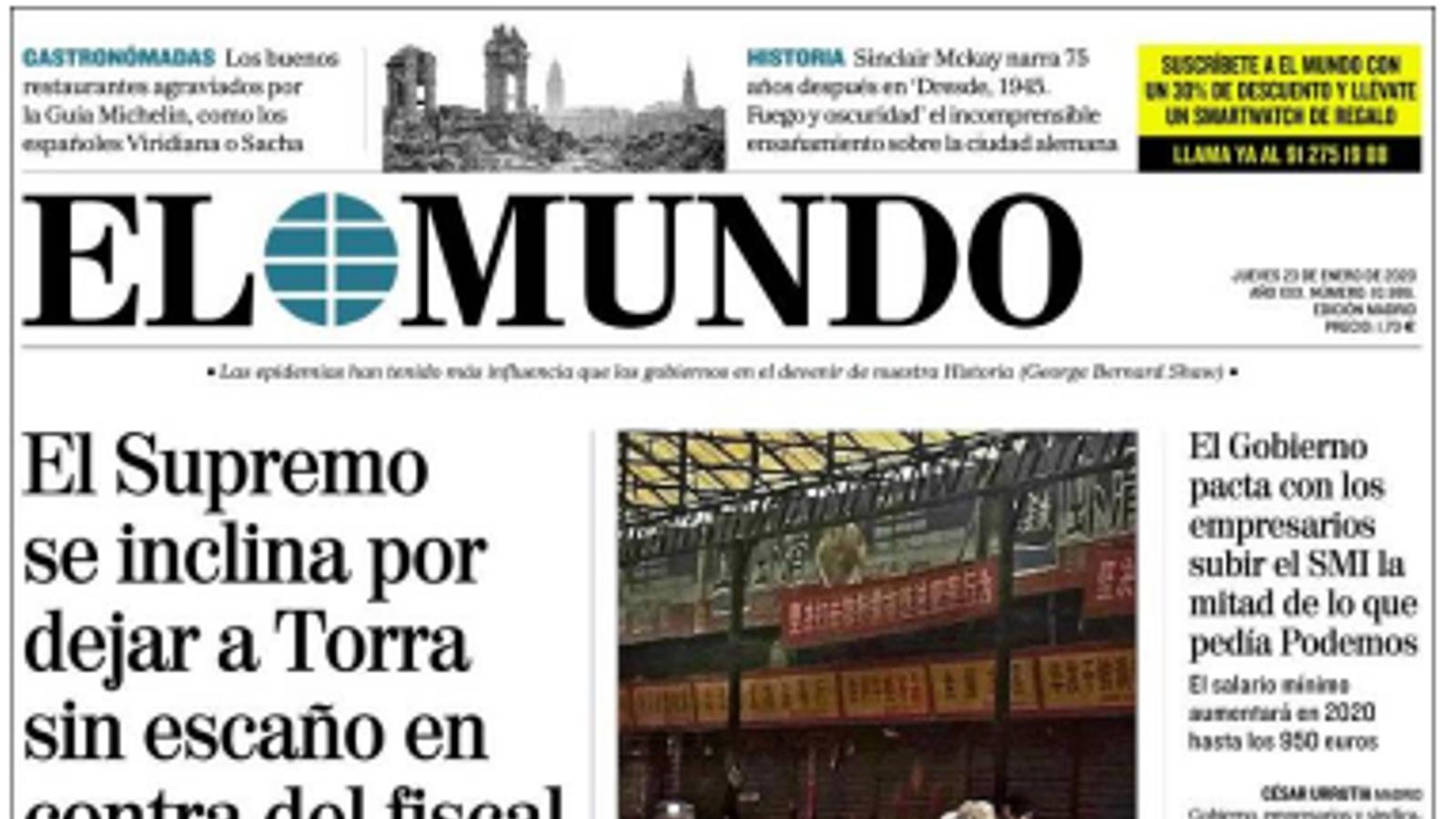 La portada d''El Mundo'