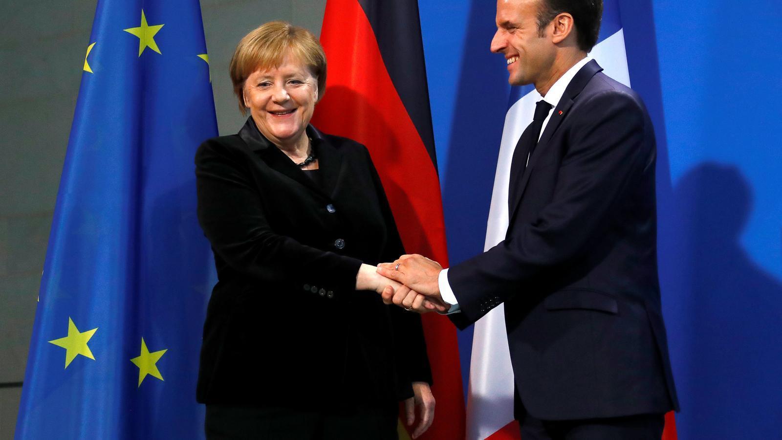 La cancellera alemanya, Angela Merkel, i el president francès, Emmanuel Macron, a Berlín.