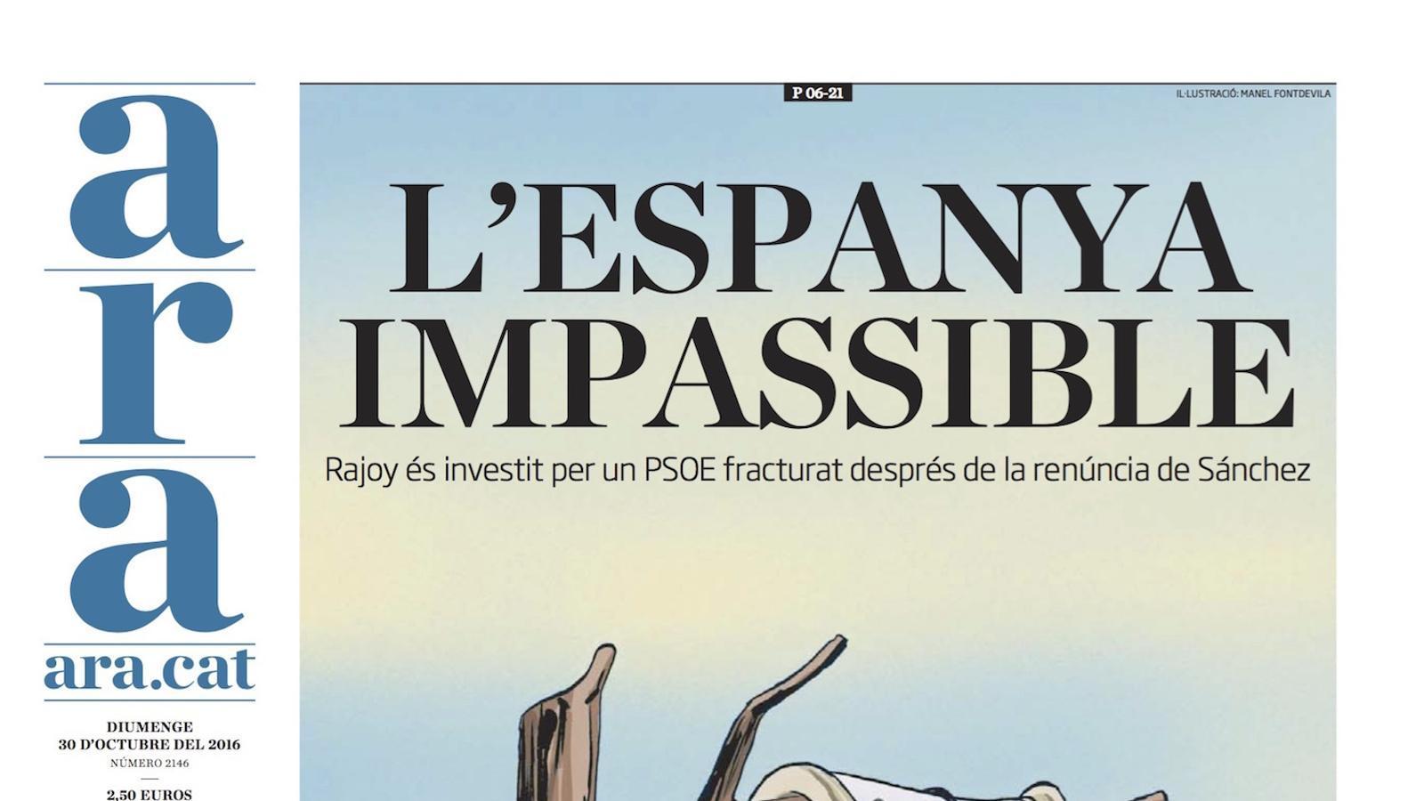 """""""L'Espanya impassible"""", portada de l'ARA"""
