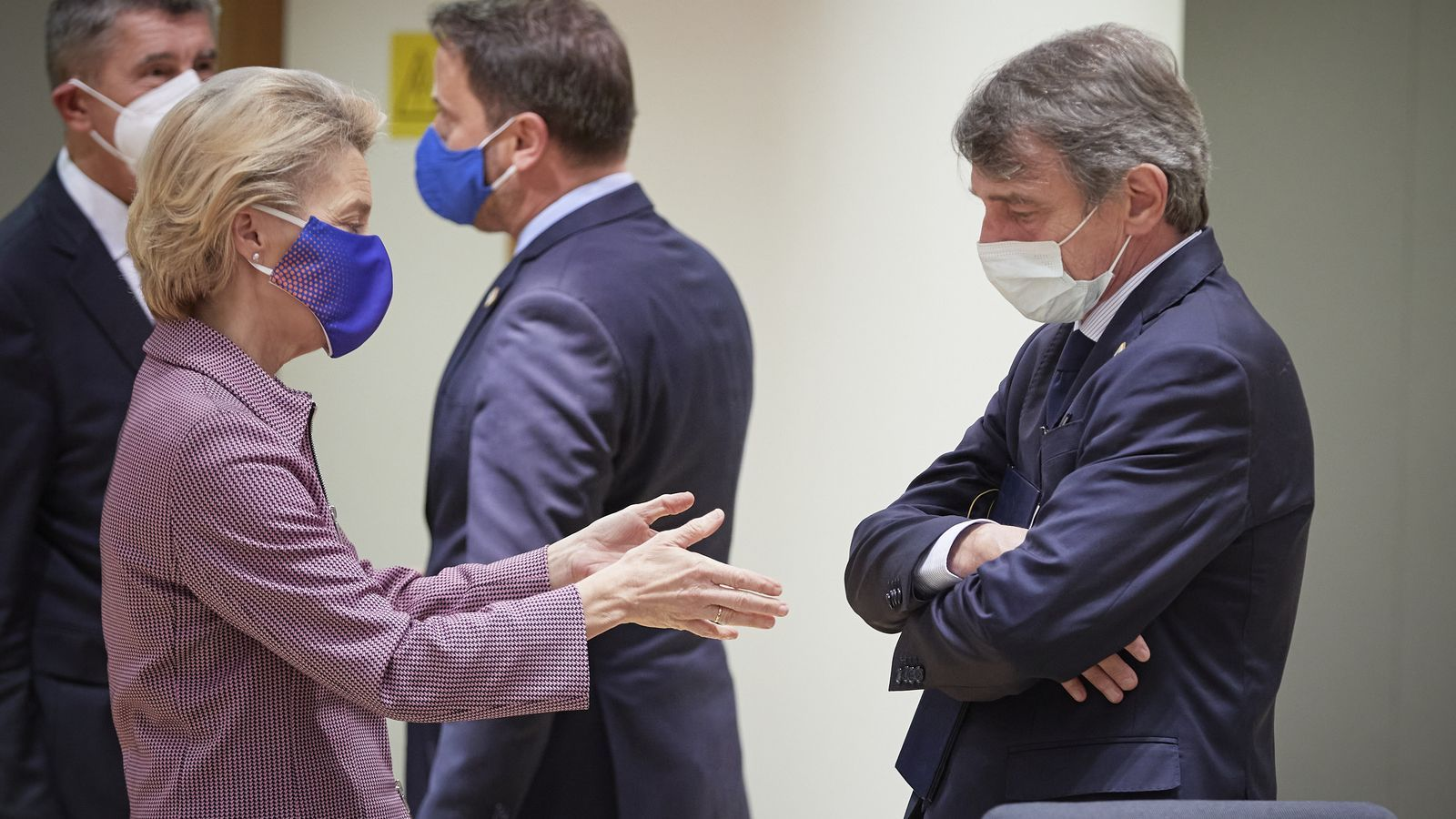 La presidenta de la Comissió Europea, Ursula Von der Leyen,  i el president del Parlament Europeu, David Sassoli..