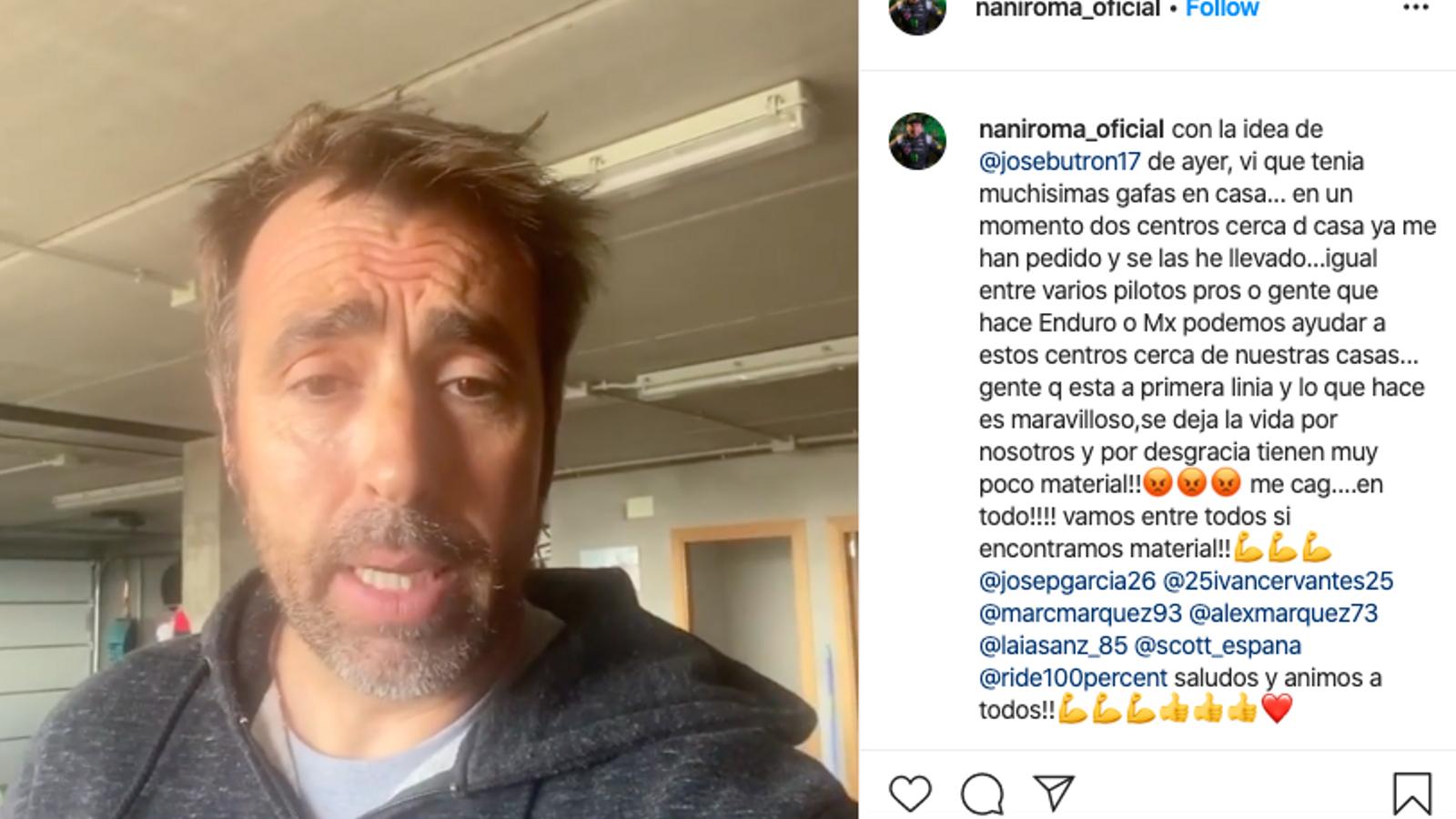 El pilot Nani Roma explica a Instagram que dona ulleres de motocròs als centres sanitaris
