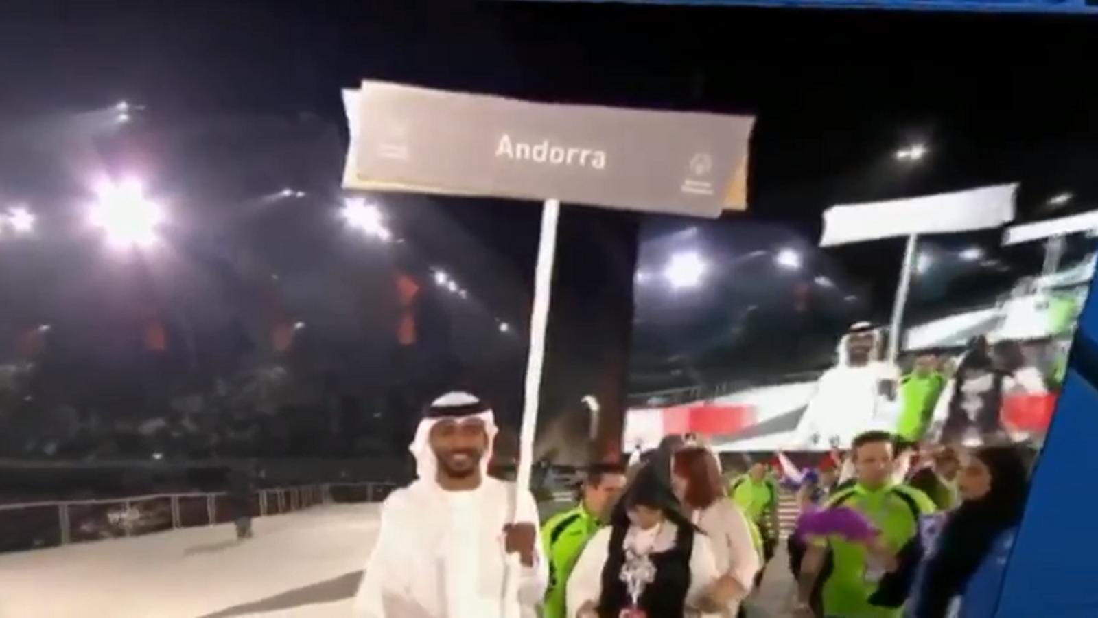 Presentació de la delegació andorrana en la gala inaugural dels Special Olympics d'Abu Dhabi 2019
